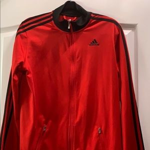 Adidas red and black track jacket